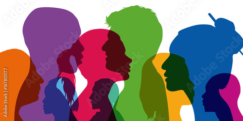 profil - visage - population - peuple - diversité - différent - couleur de peau Wallpaper Mural