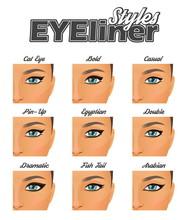 Various Winged Eyeliner Styles Make-up Chart