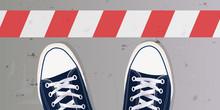 Ligne - Stop - Limite - Frontière - Obstacle - Chaussure - Basket - Jeune