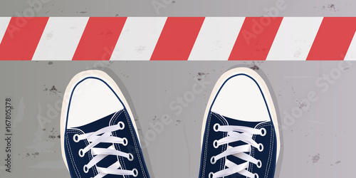 Ligne - stop - limite - frontière - obstacle - chaussure - basket - jeune Fototapet