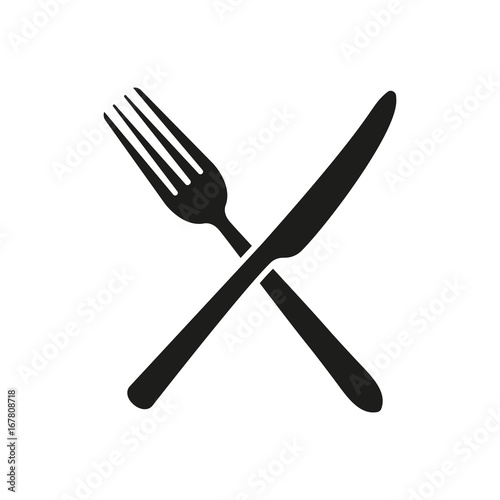 Obraz na plátně Knife, fork. Sign. Vector.