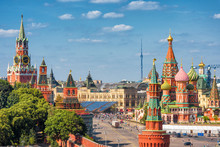 Red Square In Moscow, Russia. Kremlin And St Basil's Cathedral In Summer.