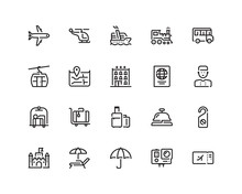 Travel Icon Set, Outline Style
