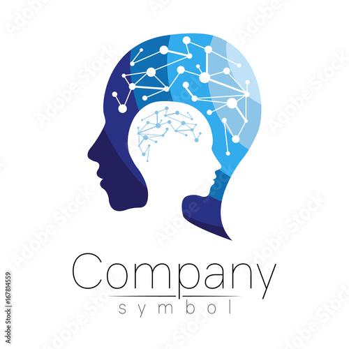 Vector Symbol Of Human Head Profile Face Blue Color Isolated On