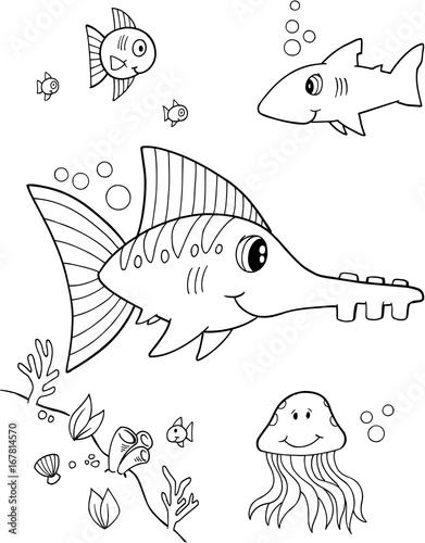 Papiers peints Cartoon draw Cute Fish Vector Illustration Art