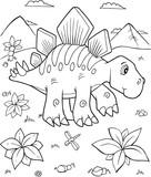 Fototapeta Dinusie - Cute Stegosaurus Dinosaur Vector Illustration Art
