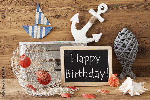 Chalkboard With Summer Decoration, Text Happy Birthday Wallpaper Mural