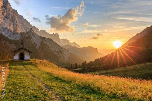 Foto Sonnenuntergang auf der Hallerangeralm im Karwendel