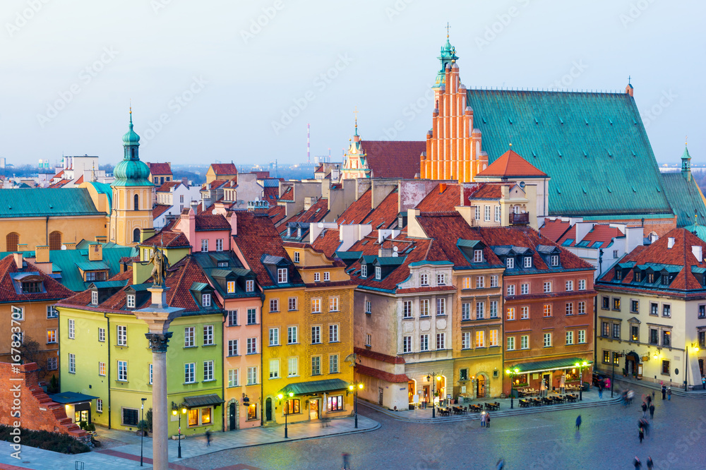 Fototapety, obrazy: view on Old Town in Warsaw at dusk, Poland