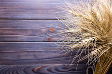 Wheat Stems, On Wooden Backgro...