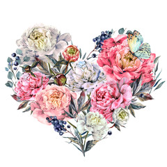 Panel Szklany Boho Watercolor Heart made of Peonies and Lilac