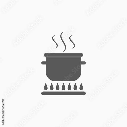 Carta da parati boiling pot on fire icon