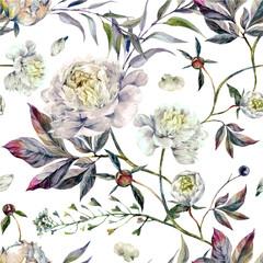 FototapetaWatercolor White Peonies Pattern