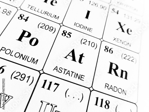 Photo Astatine on the periodic table of the elements