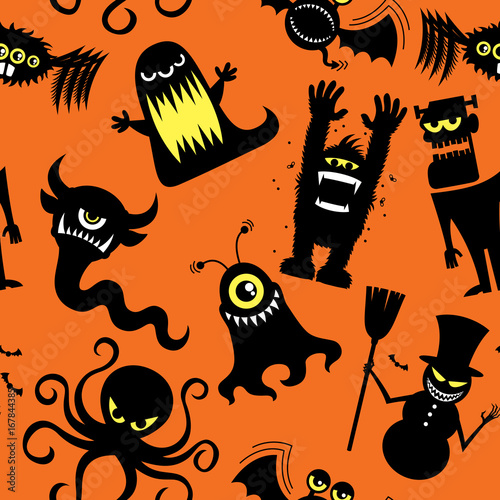 Cotton fabric Silhouette Monsters Pattern / Seamless pattern with silhouettes of cartoon monsters.