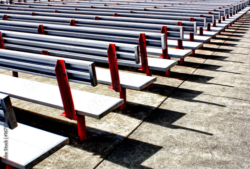 Miraculous Rows Of White Outdoor Benches In An Arena Buy This Stock Alphanode Cool Chair Designs And Ideas Alphanodeonline