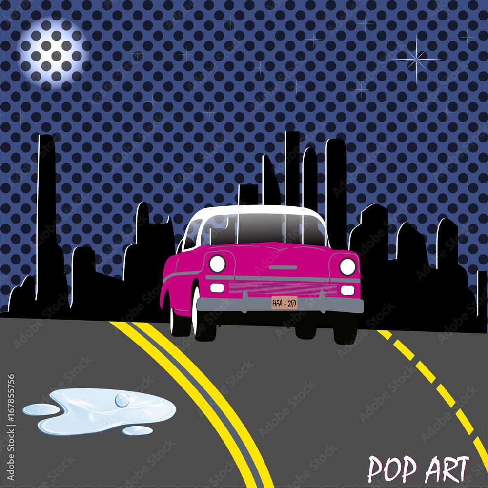 Pop art street car
