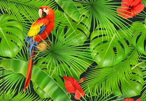 liscie-dzungli-i-papuga-wzor-3d-wektor