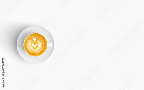 Fotografie, Obraz  Modern workspace with coffee cup copy space on white color background