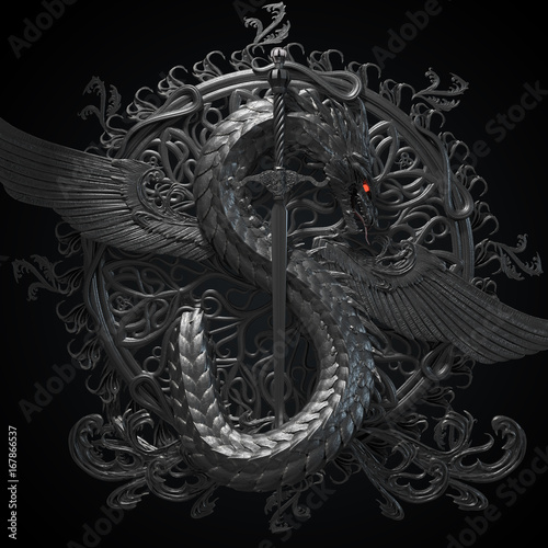 Fotografie, Tablou  Silver ornamental sculpture of a dragon with sword in a shape of symbol of dollar currency