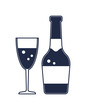 Champagne bottle isolated vector icon. Merry christmas and happy new year symbol illustration.