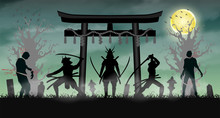 Samurai Attack Zombie With Japan Style Temple Gate