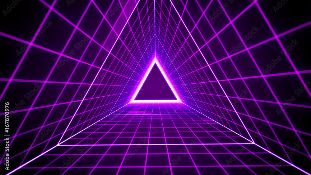 Fototapety, obrazy: 80's retro style background with triangle grid lights.