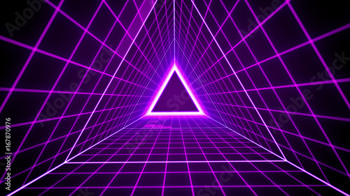Fotografie, Obraz  80's retro style background with triangle grid lights.