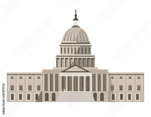 Obraz na plátne Famous United States Capitol building isolated cartoon illustration