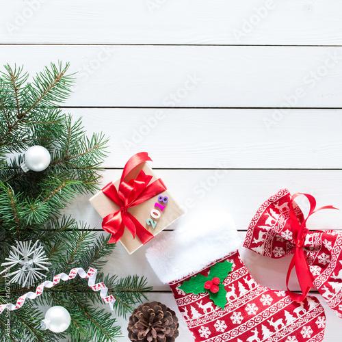 Christmas Tree Top View.Christmas Stocking And Santa S Bag In Christmas Pattern On