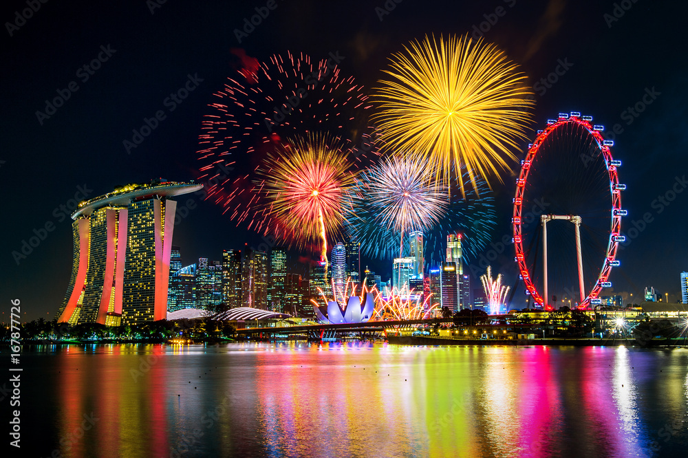Photo & Art Print Firework display in Singapore. | EuroPosters