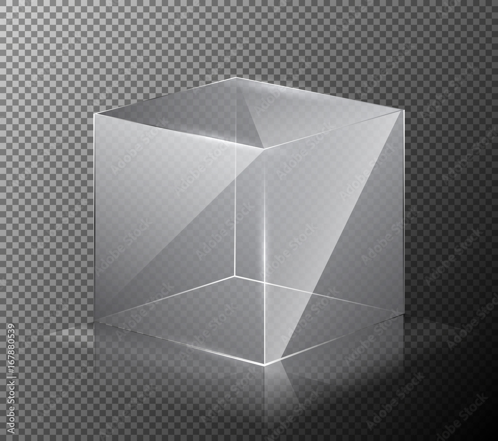 Fototapeta Vector illustration of a realistic, transparent, glass cube isolated on a gray background. 3-D design