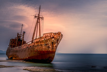 "The Shipwreck Of  ""Dimitrios"" In Gythio. Greece Peloponnese"