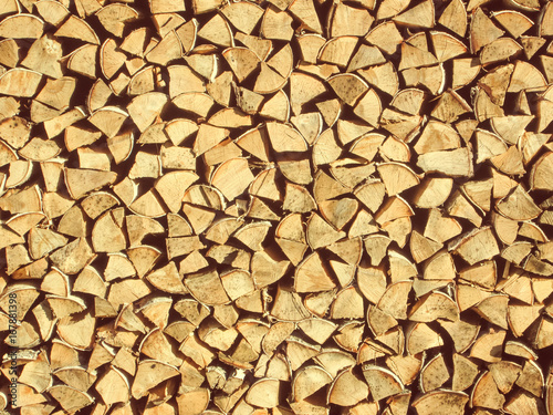 Poster Brandhout textuur Woodpile with firewood texture background
