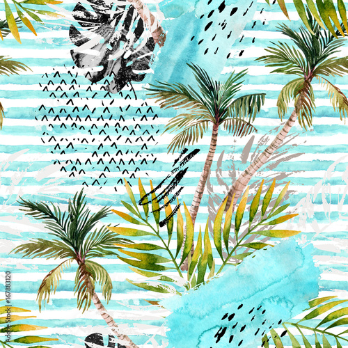 Staande foto Grafische Prints Abstract watercolor summer seamless pattern.