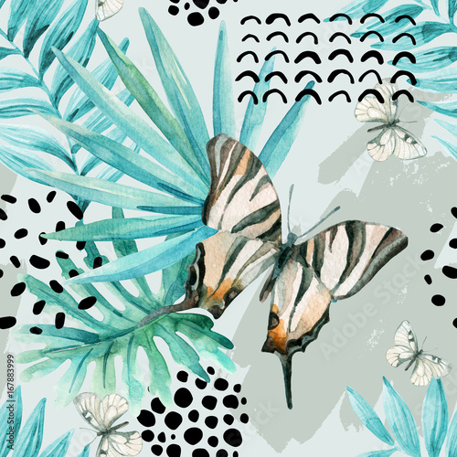 Photo sur Toile Empreintes Graphiques Watercolor graphical illustration: exotic butterfly, tropical leaves, doodle elements on grunge background.