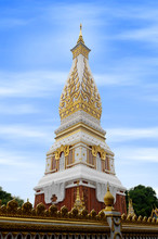 Temple Of Phra That Phanom Stupa Containing Buddha's Breast Bone, One Of The Most Important Theravada Buddhist Structures In The Region, Located In In Nakhon Phanom Province, Northeastern Thailand