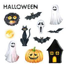 Halloween Party Illustration. Monster, Horror Mask, Black Cat, Bat, Pumpkin, Ghost, Orange Moon, Black House. Watercolor Drawing