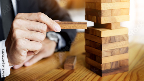 Fotografía  Planning, risk and wealth strategy in business concept, businessman and insuranc