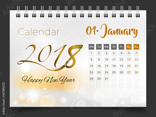 January 2018 Desk Calendar