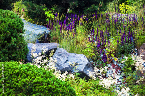 Stones for the alpine slide, house garden landscaping design Fototapeta