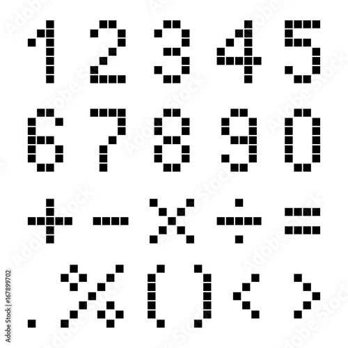 Wall Murals Pixel Numbers and mathematical signs from pixels.