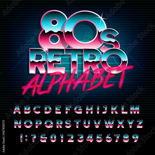 80's retro alphabet font Canvas-taulu