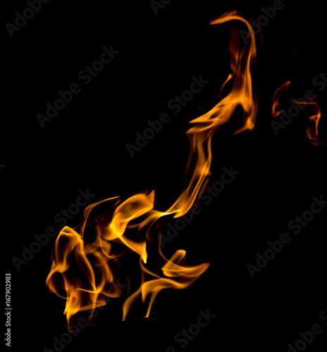 In de dag Vuur Flame of fire on a black background