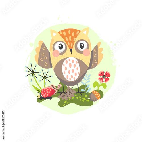 Staande foto Hoogte schaal Cartoon owl children illustration
