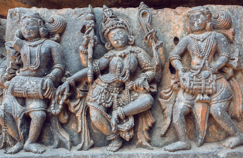 Example of ancient Indian architecture and traditional style relief