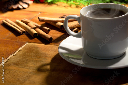 Wall Murals Cafe Coffee cup on wood table with space.