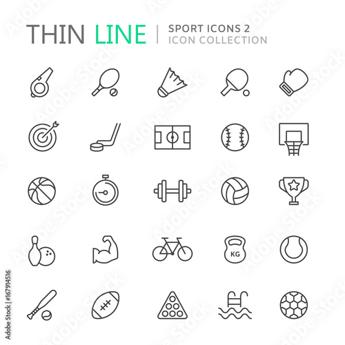Fotografía  Collection of sport thin line icons