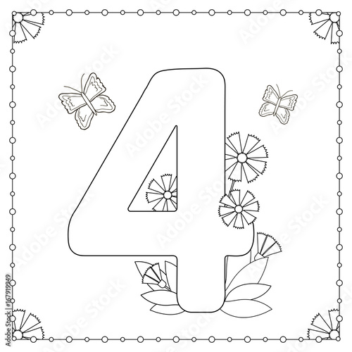 Fotografía  Numeral four with flowers, leaves and butterflies.
