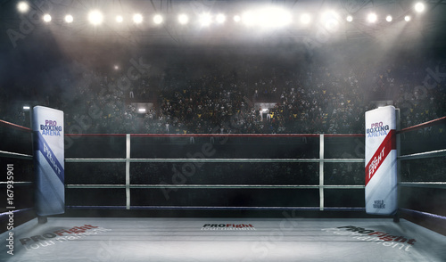 Photo professional boxing arena in lights 3d rendering
